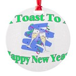 New Year's Toast Round Ornament