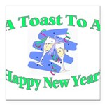 New Year's Toast Square Car Magnet 3