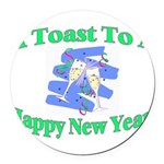 New Year's Toast Round Car Magnet