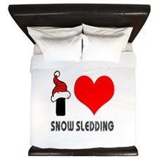 I Love Snow Sledding King Duvet