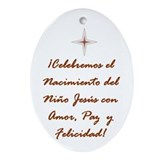 Spanish Christmas Holiday Ornament Oval Felicidad