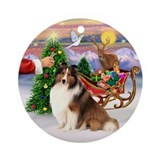 Santa's Treat for his Sheltie Ornament (Round)