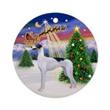 Santa's Take Off &amp; Greyhound (BW) Ornament (Round)