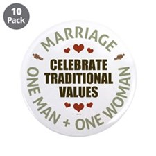 "Celebrate Traditional Values 3.5"" Button (10 pack)"