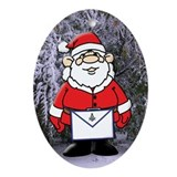 Masonic Santa in the Snow Oval Ornament