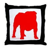 Red Bulldog Silhoutte Throw Pillow