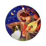 Mandolin Angel &amp; fawn Papillon Ornament (Round)