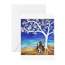 Basset Hound Spiritual Tree Greeting Cards (Pk of