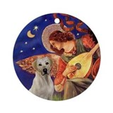Mandolin Angel &amp; Yellow Lab Ornament (Round)