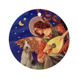 Mandolin Angel & Wire Fox Terrier Ornament (Round)