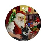 Santa &amp; his Shiba Inu (Blk) Ornament (Round)