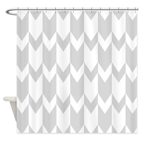 Light Gray Chevron Pattern Shower Curtain By Metarla4