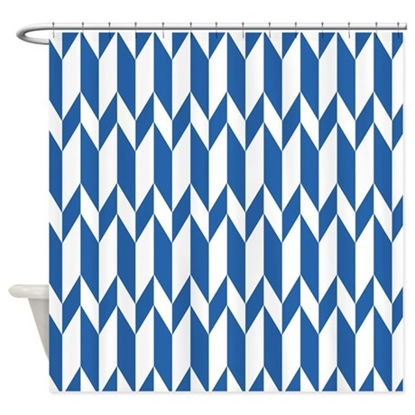 navy blue pattern shower curtain by metarla4