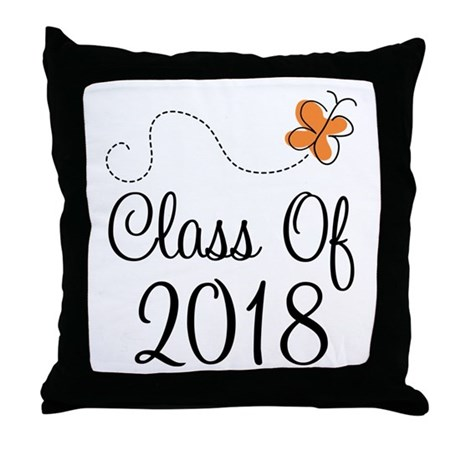 Class of 2018 Butterfly Throw Pillow