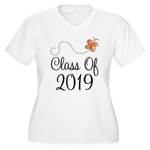 Class of 2019 Butterfly Women's Plus Size V-Neck T