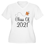 Class of 2021 Butterfly Women's Plus Size V-Neck T