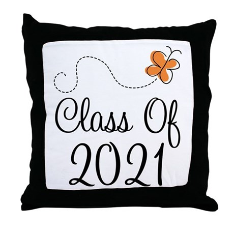 Class of 2021 Butterfly Throw Pillow