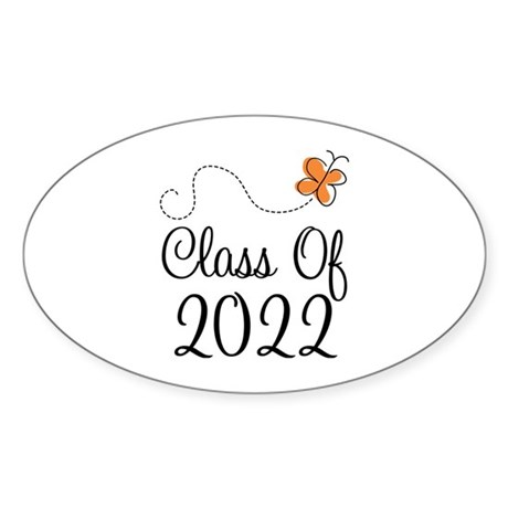 Class of 2022 Butterfly Sticker (Oval)