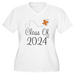 Class of 2024 Butterfly Women's Plus Size V-Neck T