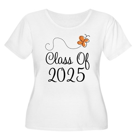 Class of 2025 Butterfly Women's Plus Size Scoop Ne