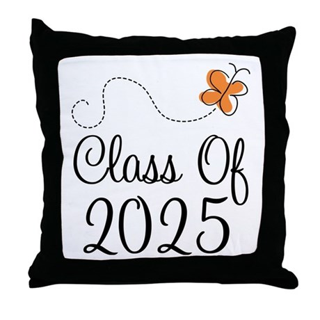 Class of 2025 Butterfly Throw Pillow