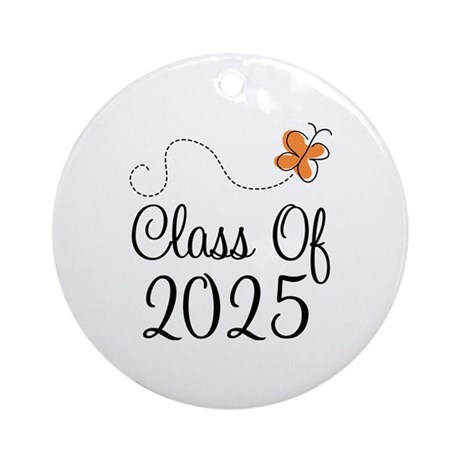 Class of 2025 Butterfly Ornament (Round)