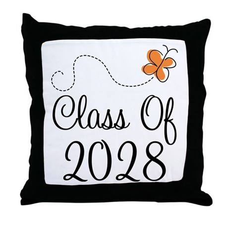 Class of 2028 Butterfly Throw Pillow