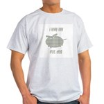 Blue Plaid Fat Dog Ash Grey T-Shirt