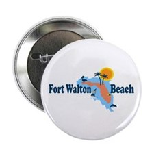 "Fort Walton Beach - Map Design. 2.25"" Button"