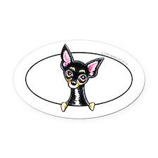 Chihuahua B/T Smooth Peeking Oval Car Magnet