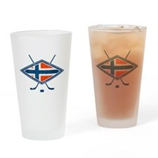 Norsk Ishockey Flag Drinking Glass