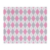 Pink Gray Argyle Pattern Throw Blanket