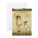 Biscuits Brun, Cookie, Dog, Vintage Poster Greetin