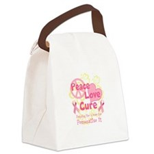Pink Peace Love Cure Canvas Lunch Bag
