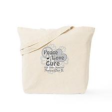 Gray Peace Love Cure Tote Bag