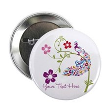 "Add Text Colored Peacock 2.25"" Button (100 pack)"
