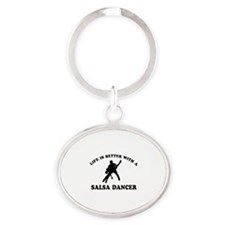 Salsa Dancer vector designs Oval Keychain