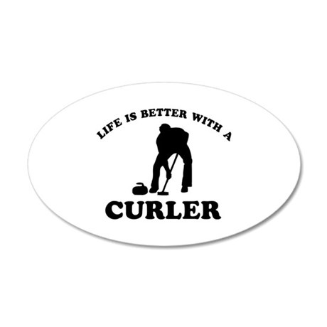 Curler vector designs 20x12 Oval Wall Decal