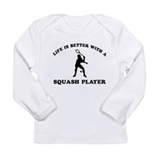 Squash Player vector designs Long Sleeve Infant T-