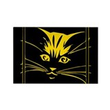 Gold Cat Face Rectangle Magnet