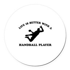 Handball Player vector designs Round Car Magnet