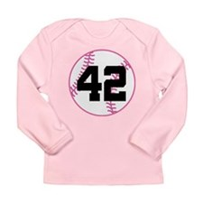 Softball Player Number 42 Long Sleeve Infant T-Shi