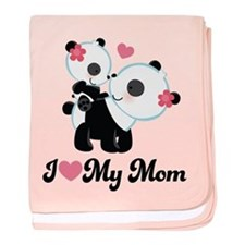 I Heart My Mom Pandas baby blanket
