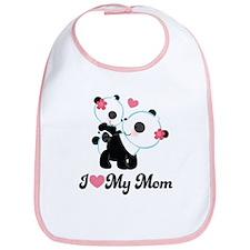 I Heart My Mom Pandas Bib