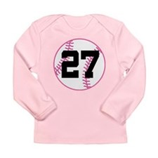 Softball Player Number 27 Long Sleeve Infant T-Shi