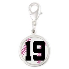 Softball Player Number 19 Silver Round Charm