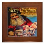 Merry Christmas Santa Claus Framed Tile