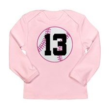 Softball Player Number 13 Long Sleeve Infant T-Shi