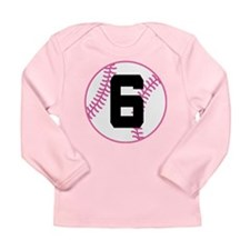 Softball Player Number 6 Long Sleeve Infant T-Shir