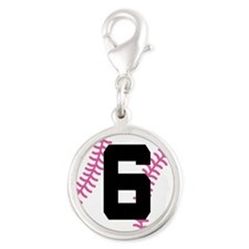 Softball Player Number 6 Silver Round Charm